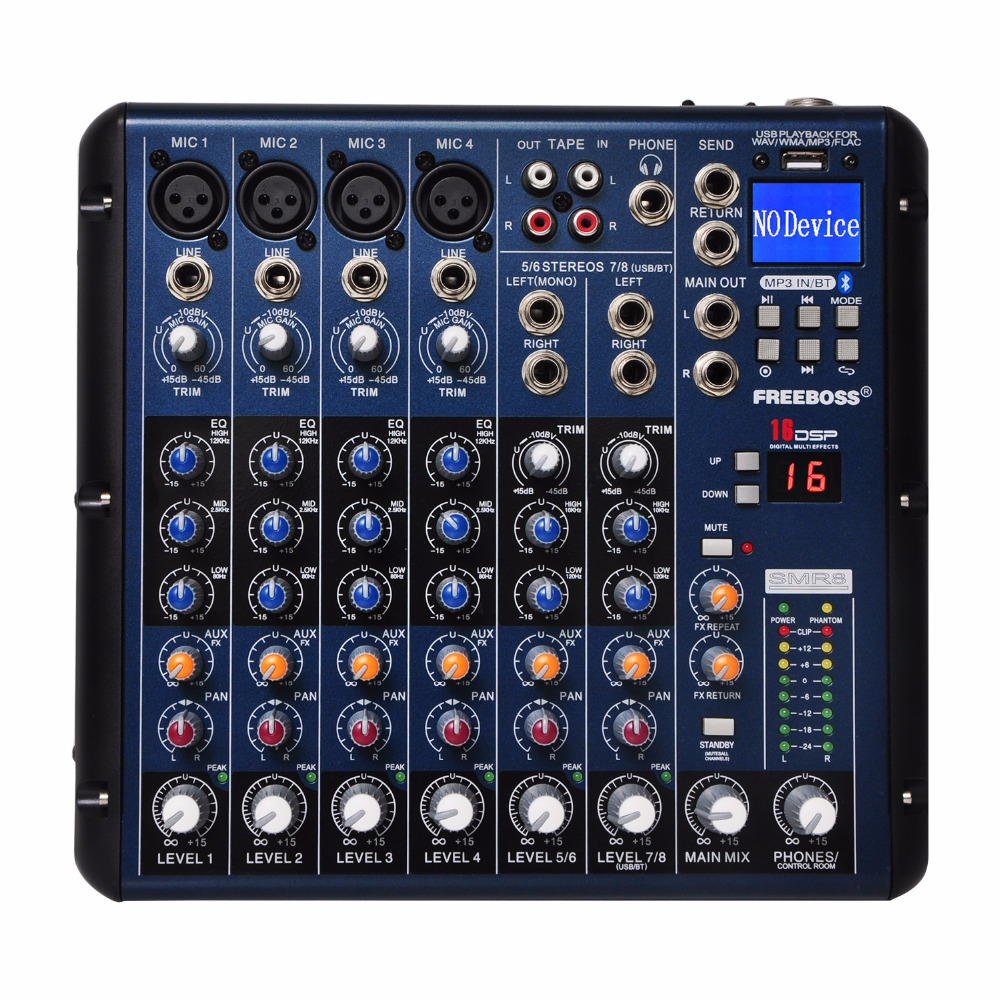 SMR8 Bluetooth Record 8 Channels (4 Mono + 2 Stereo) 16 DSP USB Professional DJ Mixer freeboss me82 ultra low noise 4 mono 2 stereo 8 channels 16 dsp usb professional dj audio mixer console