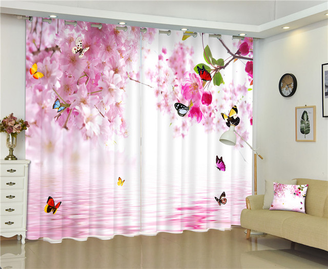 Pink/Light Yellow Butterfly Curtains 3D Photo Printing Blackout For ...