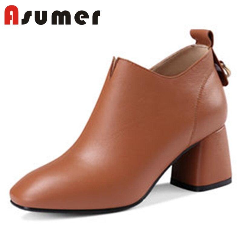 ASUMER offre spéciale 2018 solide zip bottines pour les femmes simple bout carré peu profond bottes élégant talons épais bottes en cuir véritable