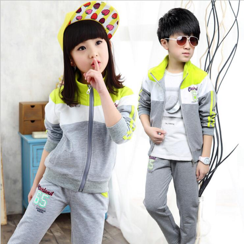 Children clothes spring boys girls sports suits 2pcs long sleeve patchwork outerwear jacket+letters pants kids sets цены онлайн