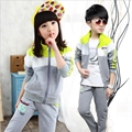 Children clothes spring boys girls sports suits 2pcs long sleeve patchwork outerwear jacket+letters pants kids sets