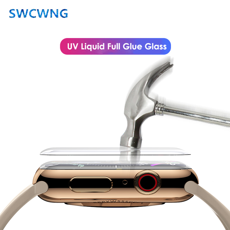 Nano Liquid UV Full Glue Screen Protector For Apple Watch 38 42mm 40mm 44mm Tempered Glass I Watch 5 4 3 2 1 Full Cover UV Glass