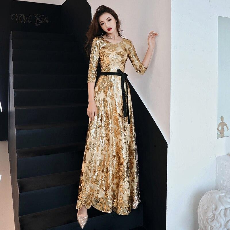 Weiyin Nouvelle Or de Soirée Robe Longue 2019 Nouveau O-cou Femmes Élégant Sequin A-ligne Zipper Soirée Partie Robe Robe WY1311