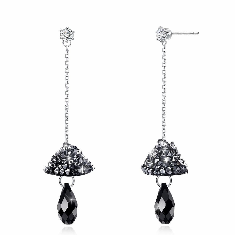 Austria Elements Crystal Mushroom Long Drop Earrings for Women European and American Style Fashion Sterling Silver 925 Jewelry new european and american fashion steampunk hourglass gear alloy drop earrings