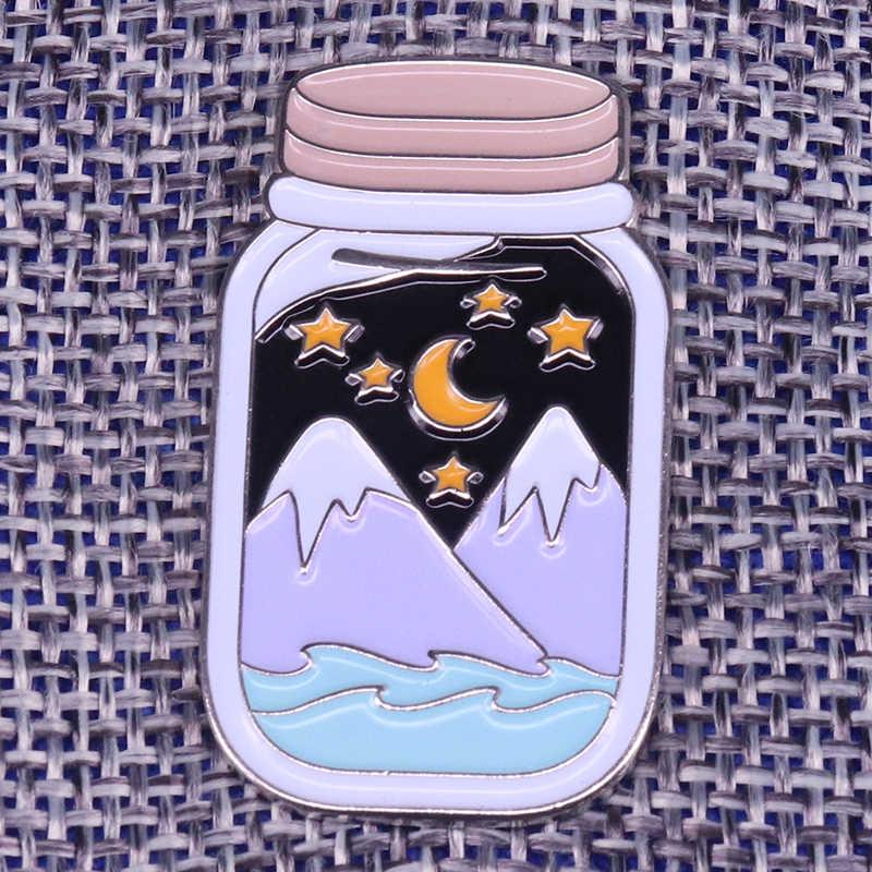 Gunung Salju Jar Bros Bulan dan Bintang Lencana Alaska Pemandangan Pin Petualangan Perhiasan Alam Kekasih Hadiah Aksesori Perjalanan