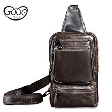 Leather Men's Chest pack First layer Cowhide Male bag retro Messenger bag multi-function riding casual Soft Cover shoulder bags недорого