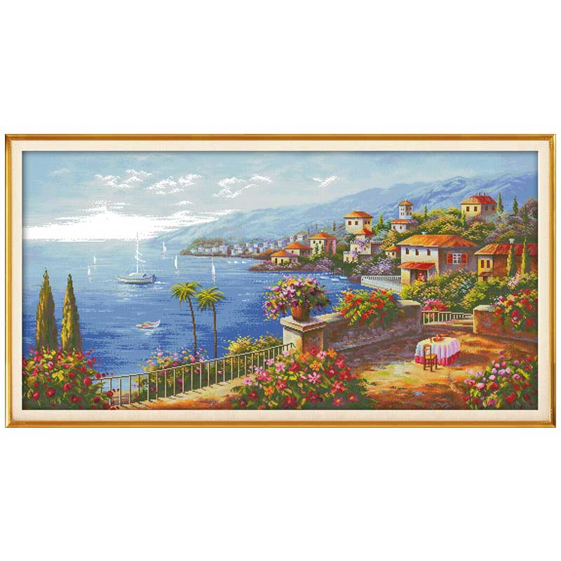 11/14/16/18/27/28 Mediterranean Style Scenery Counted  Cross Stitch Set  DMC Cross-stitch Kit Embroidery Needlework Home Decor