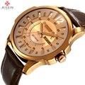 Relógios Julius Marca Do Esporte Dos Homens de Negócios de Couro Masculino Relógio de Quartzo Impermeável Militar Do Exército relógio de Pulso Relogio masculino JAH-017