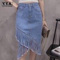 2018 Spring Summer New Women Casual Denim Knee Length Mermaid Skirts Irregular Tassels High Waist Jeans Faldas Mujer Slim Fit
