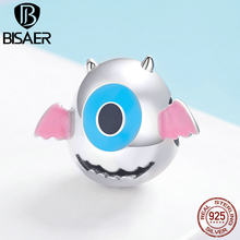 BISAER 100% 925 Sterling Silver Toy Monster Dumb Dumber Charms Beads fit Children Girls Bracelets DIY Jewelry Gift ECC1088(China)