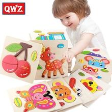 QWZ детские игрушки деревянные головоломки милый мультфильм животных интеллект Дети образовательный мозговой тизер детская танграмма паззл в форме подарки