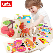 QWZ Baby Toys Wooden Puzzle Cute Cartoon Animal Intelligence Kids Educational Brain Teaser Children Tangram Shapes Jigsaw Gifts(China)