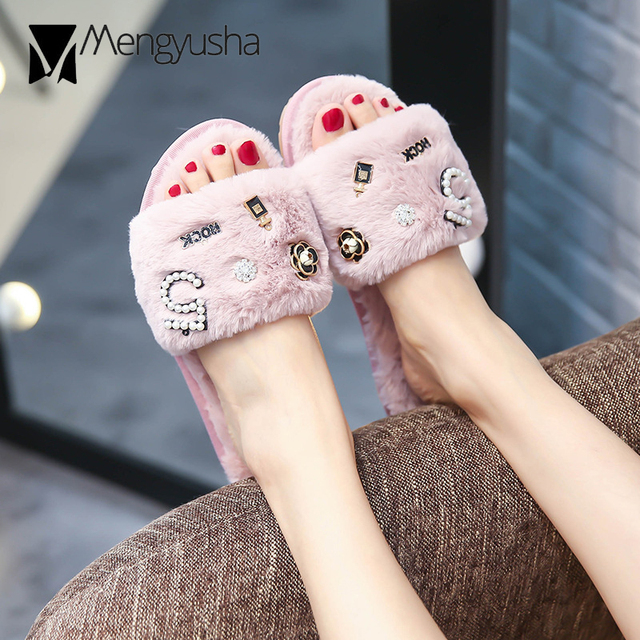 984b511f376eff brand perfume decoration fur slippers women winter flip flops camellia pearl  beading fur sandals women pantufas cozy slides c85