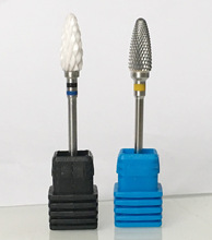 2pcs XC Ceramic Nail Drill Bit Pedicure Machine XF Carbide Calluses Flame Bit Tools 3/32″ Shank ,free shipping!