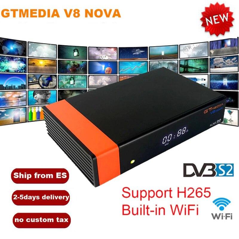 Récepteur Satellite GTMedia V8 Nova DVB-S2 Full HD 1080 H.265 HEVC 1 an Europe espagne 7 lignes Clines CCCam WiFi intégré