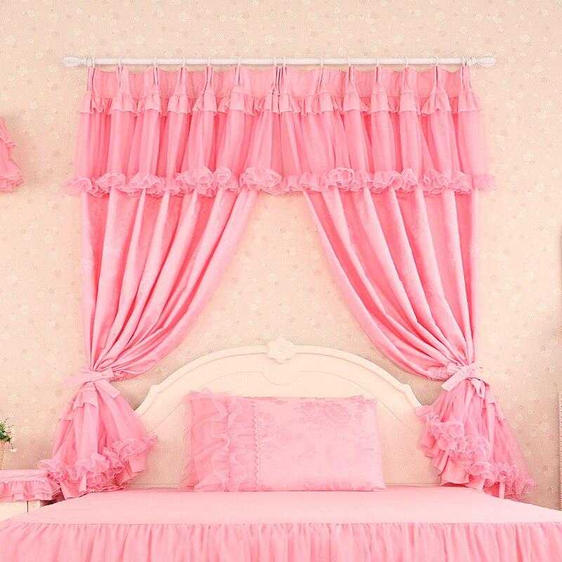 cortinas de lujo sala de estar de encaje de color rosa cortinas de tul moderna