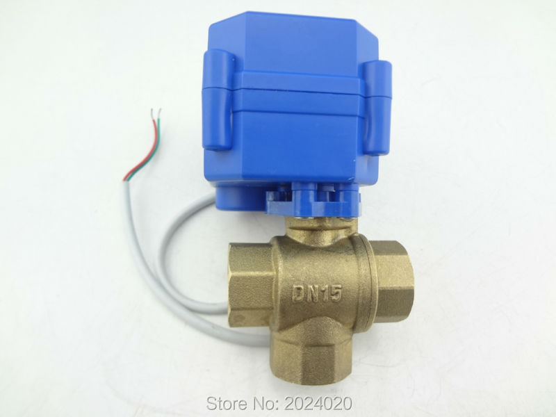 1of 3 way DN15(reduce port) motorized ball valve, electric valve(L port), M8-MV-3-15-L-12V-R01-1