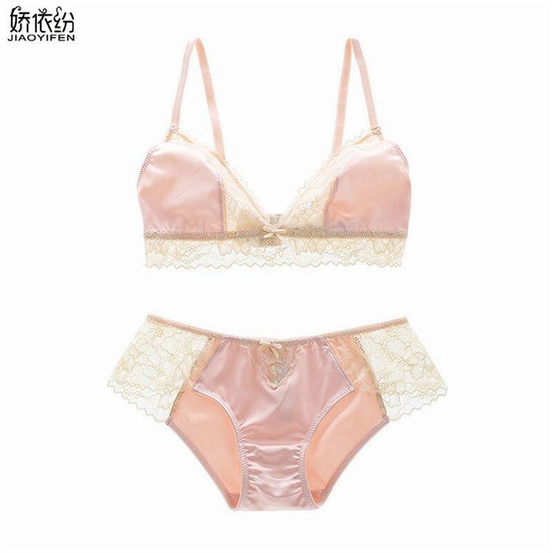 Buy JYF 2017 Sexy women underwear ultra-thin bra set wire free comfortable lace stitching lingerie vs pink intimates bra brief sets