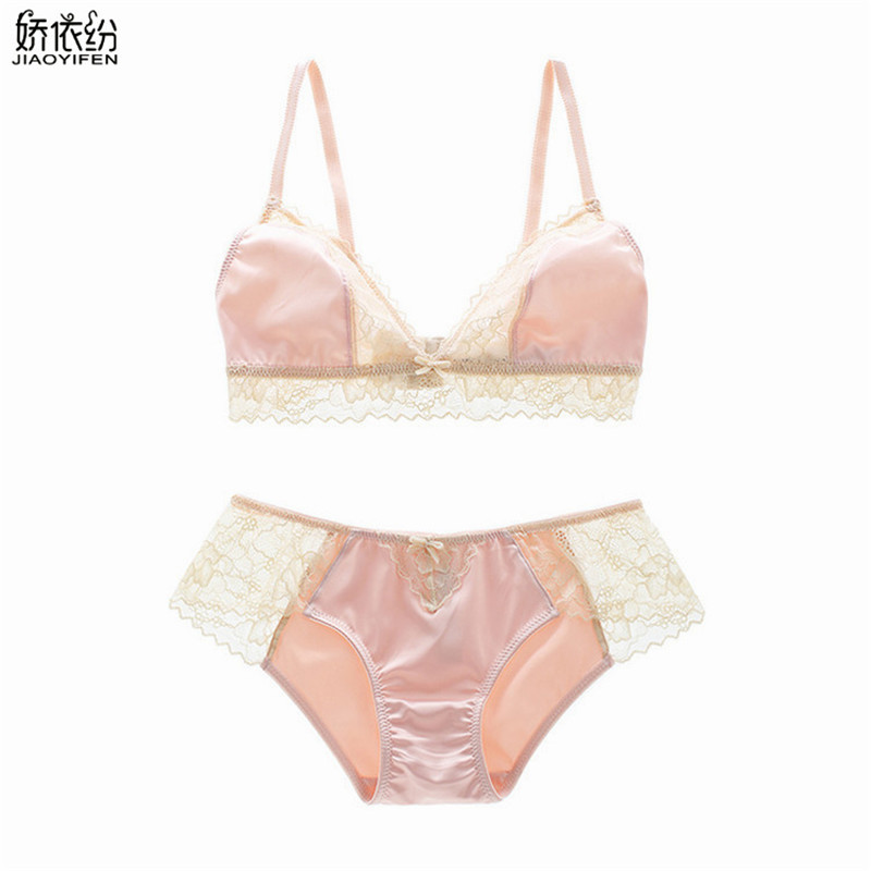 JYF 2017 Sexy women underwear ultra-thin   bra     set   wire free comfortable lace stitching lingerie vs pink intimates   bra     brief     sets