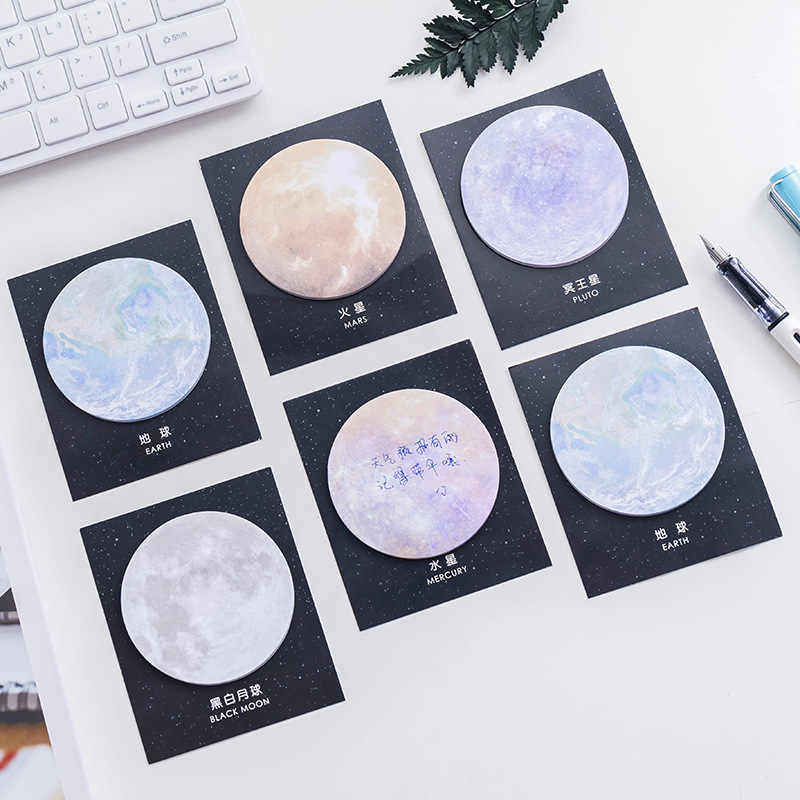 1pcs 7.5cm Round Korea Stationery Creative Planet Series Notes Notebook Writing Pads Memo Pad For Students Kids Office