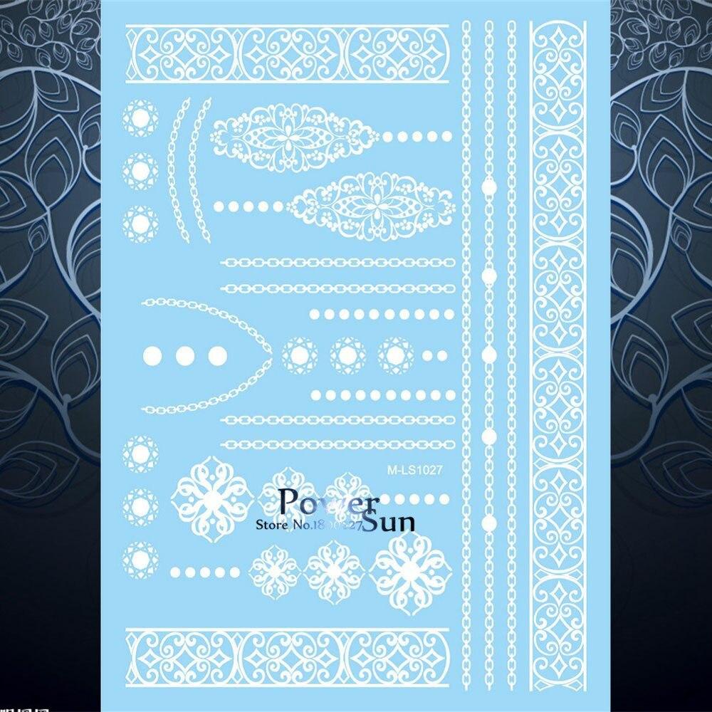 1PC Beauty Bridal Wedding Tattoo White Lace Choker Bracelet Design Waterproof Women Henna Jewel Tempoary Tattoo Sticker PMLS1027