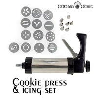 13 Patterns Stainless Steel Cookie Press & Icing Set Biscuit Maker Baking Tools With No Box Package KK055
