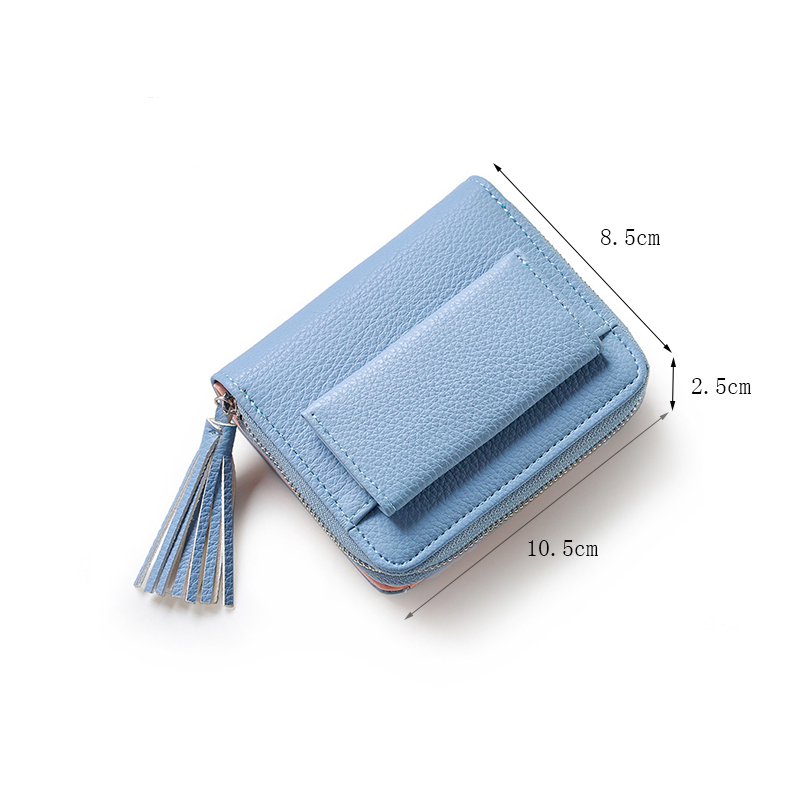 Miyahouse Mini PU Leather Female Wallet With Tassel Solid Color Female Mini Purse Zipper Design Credit Card Holders For Women