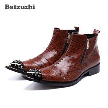 Batzuzhi Italian Style Fashion Mens Boots Pointed Toe Genuine Leather Ankle Boots Man Handmade Luxury Brown Botas Hombre 2017 luxury handmade pointed toe ankle fringe tassel short boots high end designed men genuine leather suede boots