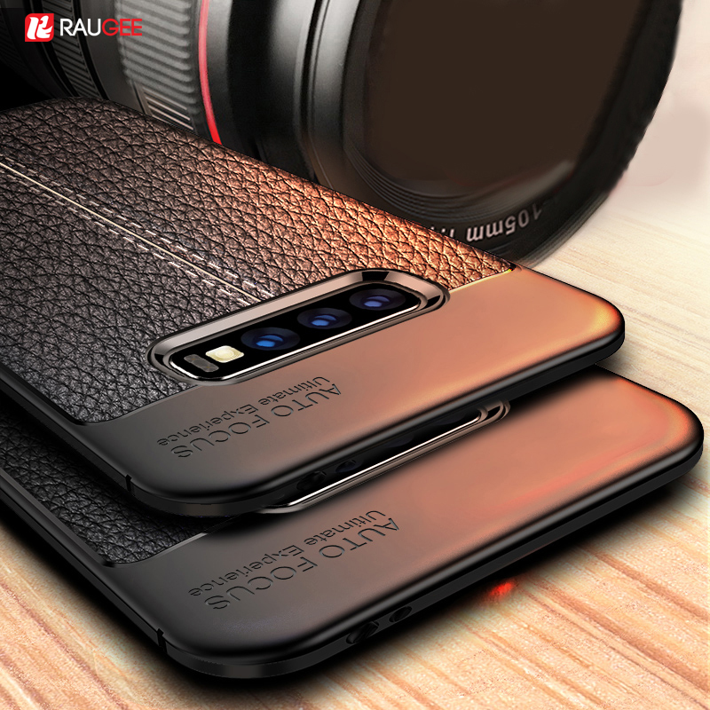 Raugee Leater Case For Samsung Galaxy S10 S10 Plus Case Funda TPU Silicone Bumper Soft Back Cover On For Samsung S10E S10+ Case