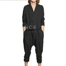 2017 thenan Fashion casual jumpsuit loose jumpsuit spring and summer male jumpsuit trousers one trousers The singer's clothing
