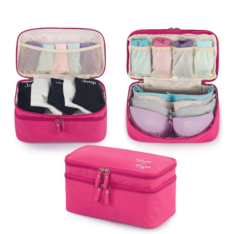 29*15*17cm Underwear Drawer Organizers 2 Layers Solid Color Bra Underwear Zipper Lock Cosmetics Case Home Storage & Organization