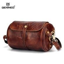 GENMEO New Cowhide Natrual Leather Men Handbag Vintage Genuine Leather Crossbody Shoulder Bag Male Messenger Bag Bolsa Feminina
