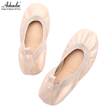 4dbc21c61aa2 Aohaolee Hot Fashion Red Soles Leather Lady Shoes Loafer Women Ballerina  Flats Shoes Foldable Ballet Flats
