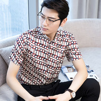 AYUNSUE Real Silk Summer Shirt Men Short Sleeve Printed Shirt Social Mens Shirts Casual Slim Fit 2019 Camisas Hombre KJ1944