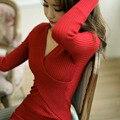 2016 nova primavera outono longo-sleeved camisola vestido feminino sexy magro mini vestido Com Decote Em V
