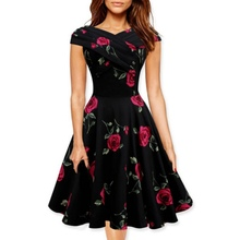2018 Rose Flower Print Vintage Mini Dress Formal A-Line Party Casual Retro Dresses Summer Sundress