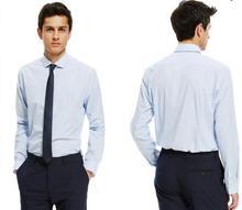 Summer New Mens Casual Shirts Fashion Long Sleeve Brand Male Plus Size Formal Business light blue Men Dress Shirt men