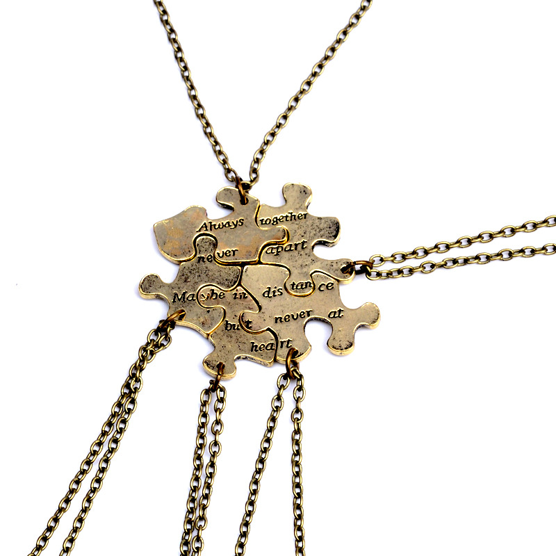 "5 PCS Puzzle Splice Best Friends Necklace Jewelry Letter ""Always Together Never Apart"" BFF Necklace Set Wholesale"