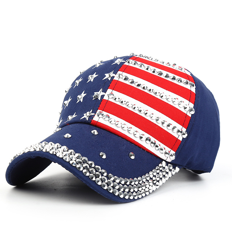 Women Baseball Hat Studded Diamond American Flag Jeans Patchwork Casquette Homme Snapback Girls Sport Caps Leisure Sun Hats Women's Hats