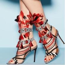 Real Photo Luxury 2017 Summer Newest Multi Color Gladiator Cuts Out Red Pearls Tassel Fringed Feather High Heels Custom Sandals