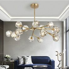 Modern lighting living room chandelier restaurant lamp post modern bedroom molecular crystal lamp simple creative personality st все цены