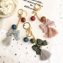 Korea Imitation Leather Bowknot Rhinestone Car Key Chain Mobile Phone Bag Pendant Fashion Jewelry Accessory For Woman-SWKKC018F