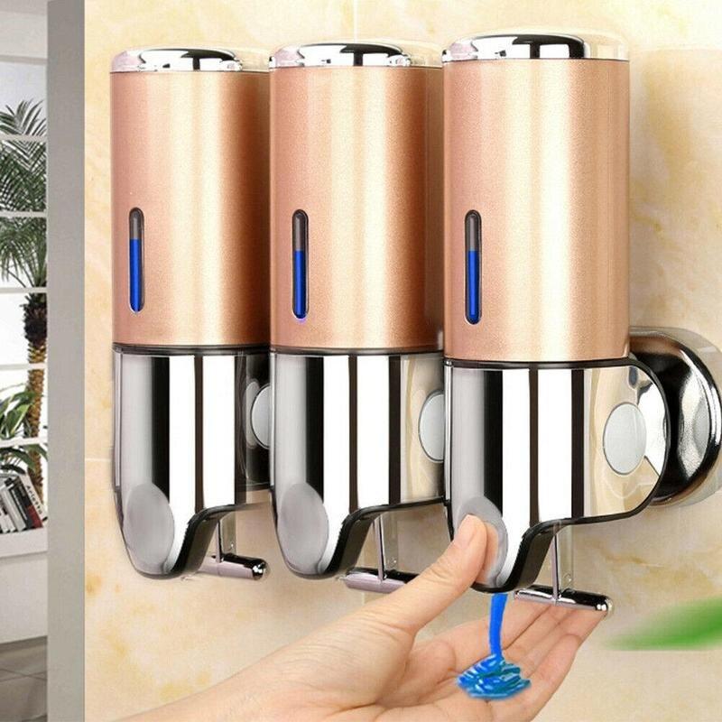 Distributeur de savon liquide support mural 300 ml accessoires de salle de bain en plastique détergent shampooing distributeurs Double main cuisine savon bouteille