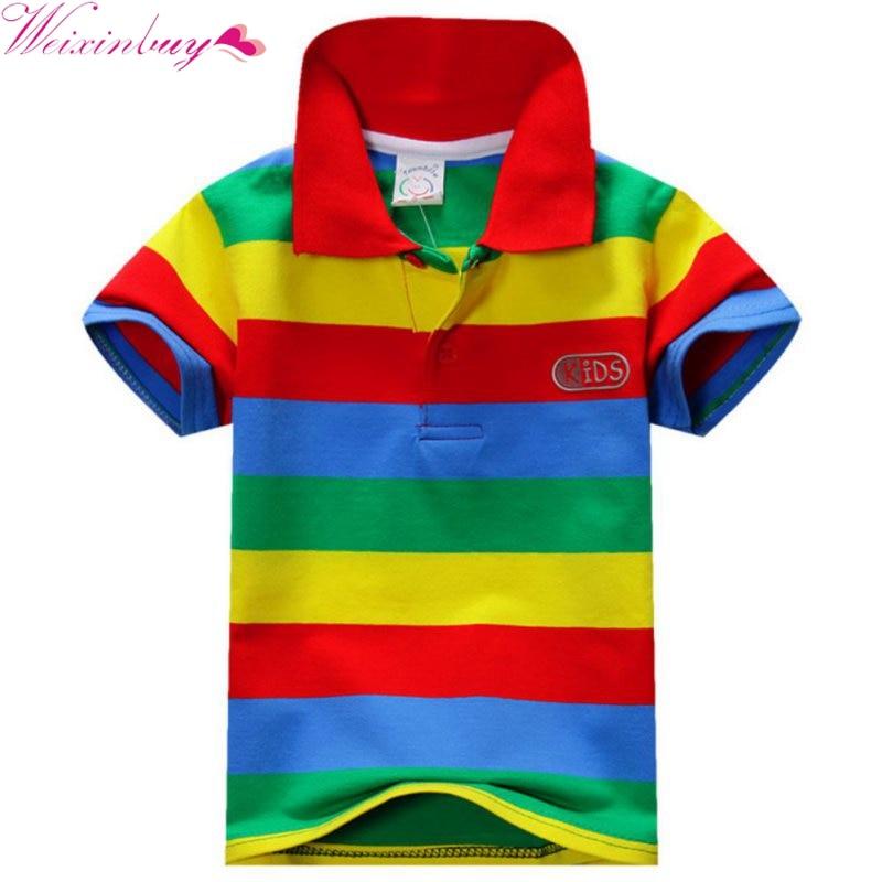 Summer Boy Rayé À Manches Courtes T-shirt Enfants Enfants Garçons - Vêtements pour enfants