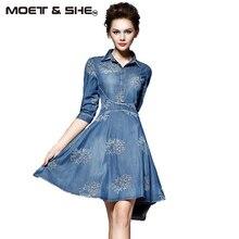 Летом Стиль Женщины Джинсовый Dress Женская Одежда Винтаж Половина Рукава Длинные Вышивка Тонкие Платья Плюс Размер Vestidos de festa D52547
