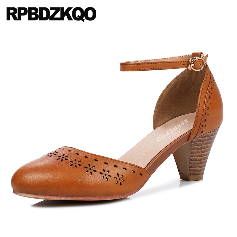 Oxford Brown Retro Sandals Pumps Genuine Leather Elegant Shoes Women Size 4 34 Ankle Strap Thick China Medium Heels Round Toe 6cm 2 inch pointed toe 2017 thick ankle strap 4 34 small size china women pumps high heels shoes sandals brown retro clasp