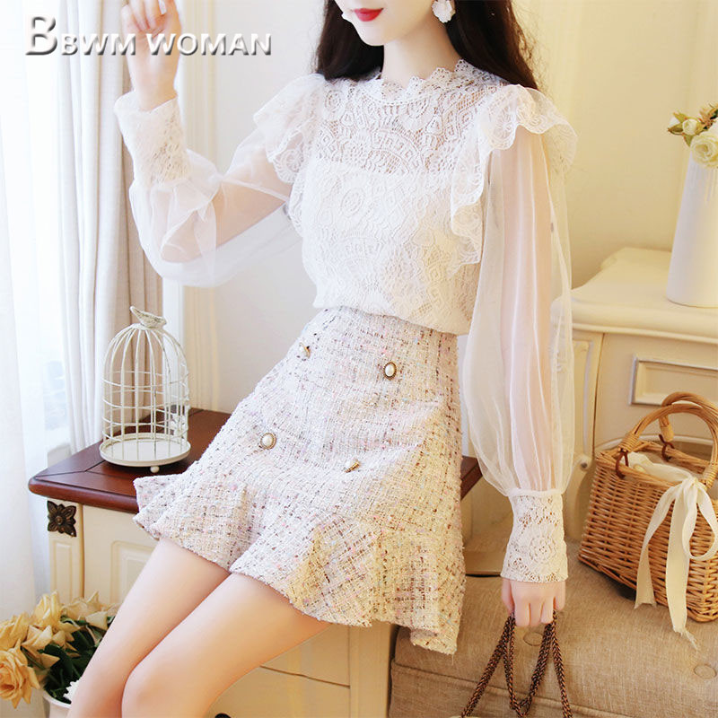 2019 Spring Women Sets Lace Blouse And Pearl Decor Skirt Female Sets