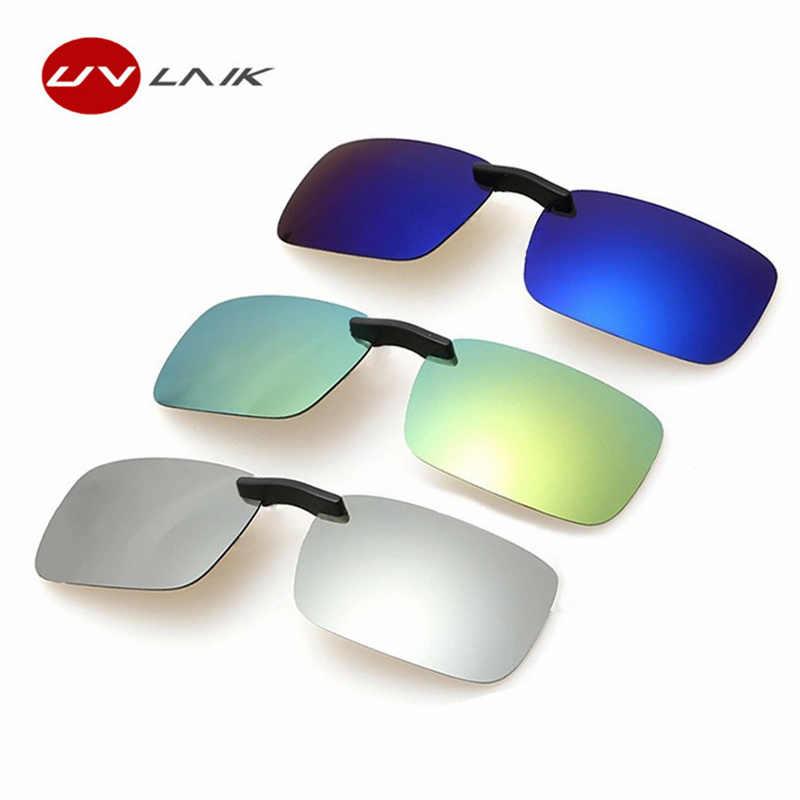 9a7a3e3852bbb UVLAIK Mirror Sunglasses Men Polarized Lens Sunglass Night Vision Goggles Sun  Glasses Flip Up Clip On