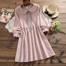 630eea118d23 pink peter pan collar long sleeve waist ruffled Corduroy dress mori girl  Spring autumn