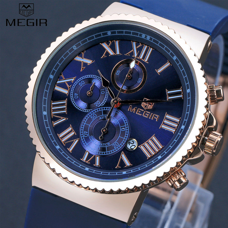 Megir спортивные часы мужчины точное время в пути хронограф золотой циферблат синий силиконовой лентой мужчин кварцевые часы erkek коль саати / ...